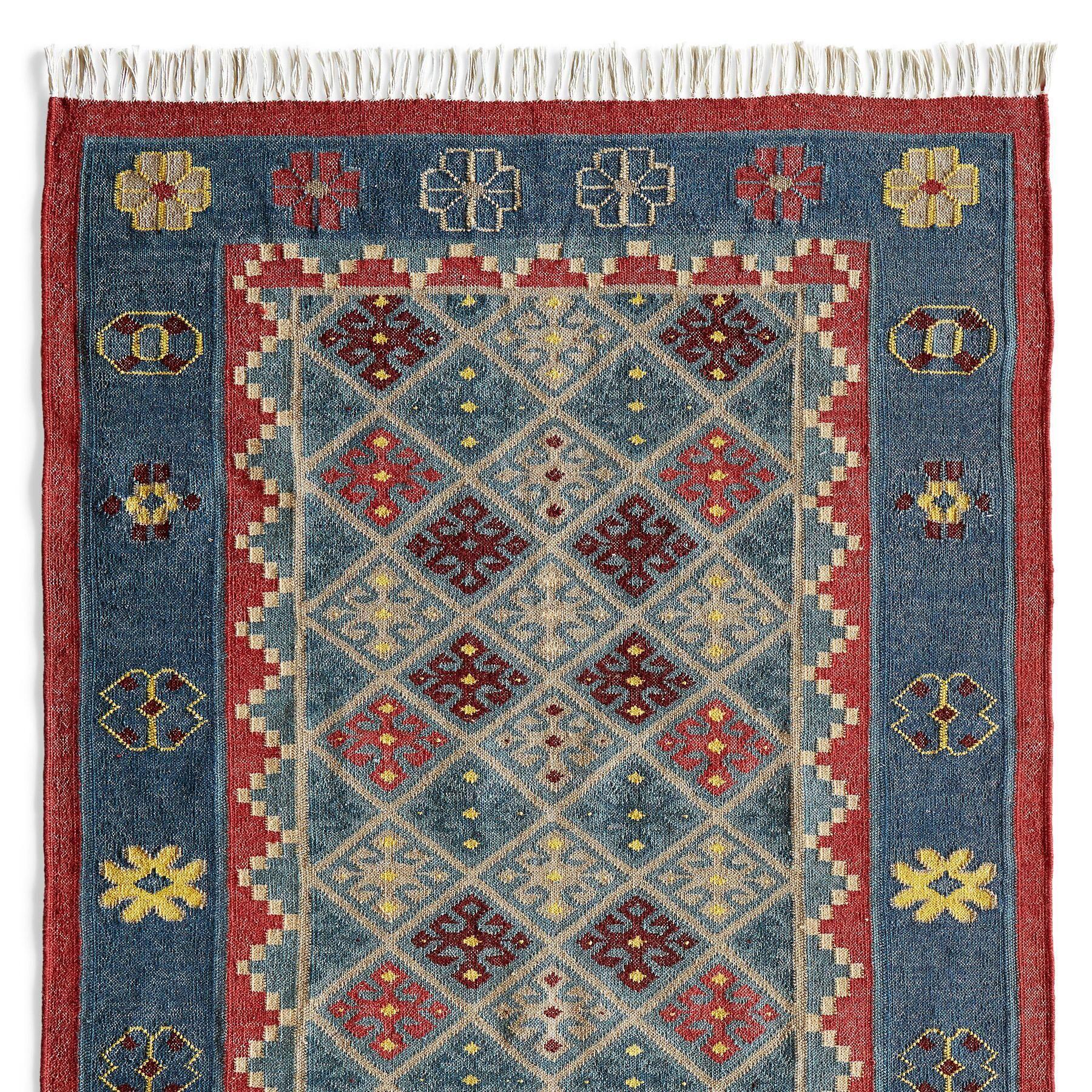 Denim Stars Dhurrie Area Rug Handwoven Cotton Wool In India Rugs Dhurrie Dhurrie Rugs