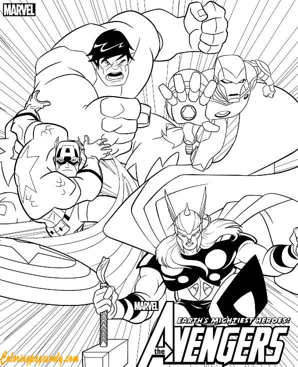 Earths Mightiest Heroes Of Avengers Coloring Page