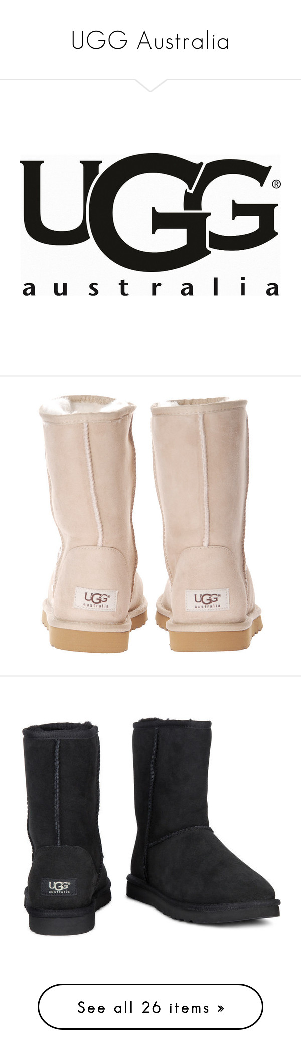 """""""UGG Australia"""" by dddawn ❤ liked on Polyvore featuring logos, fillers, shoes, boots, ankle booties, uggs, women, rock boots, short boots and short ankle booties"""