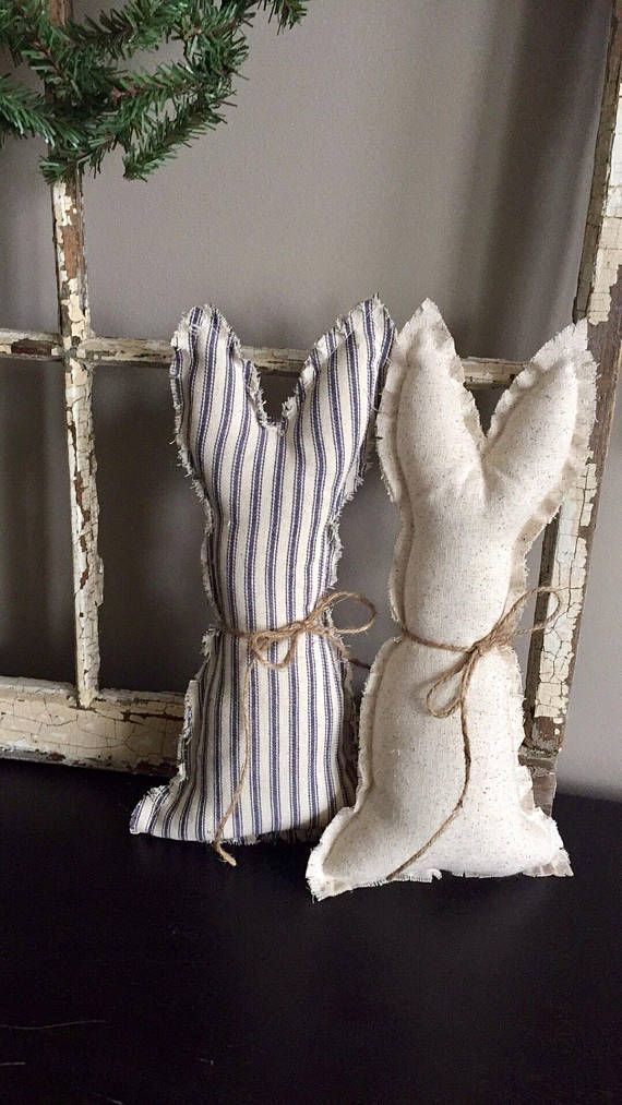 Photo of Farmhouse Fabric Bunny Farmhouse Easter Shabby Chic Easter Rustic bunny decor#ea…