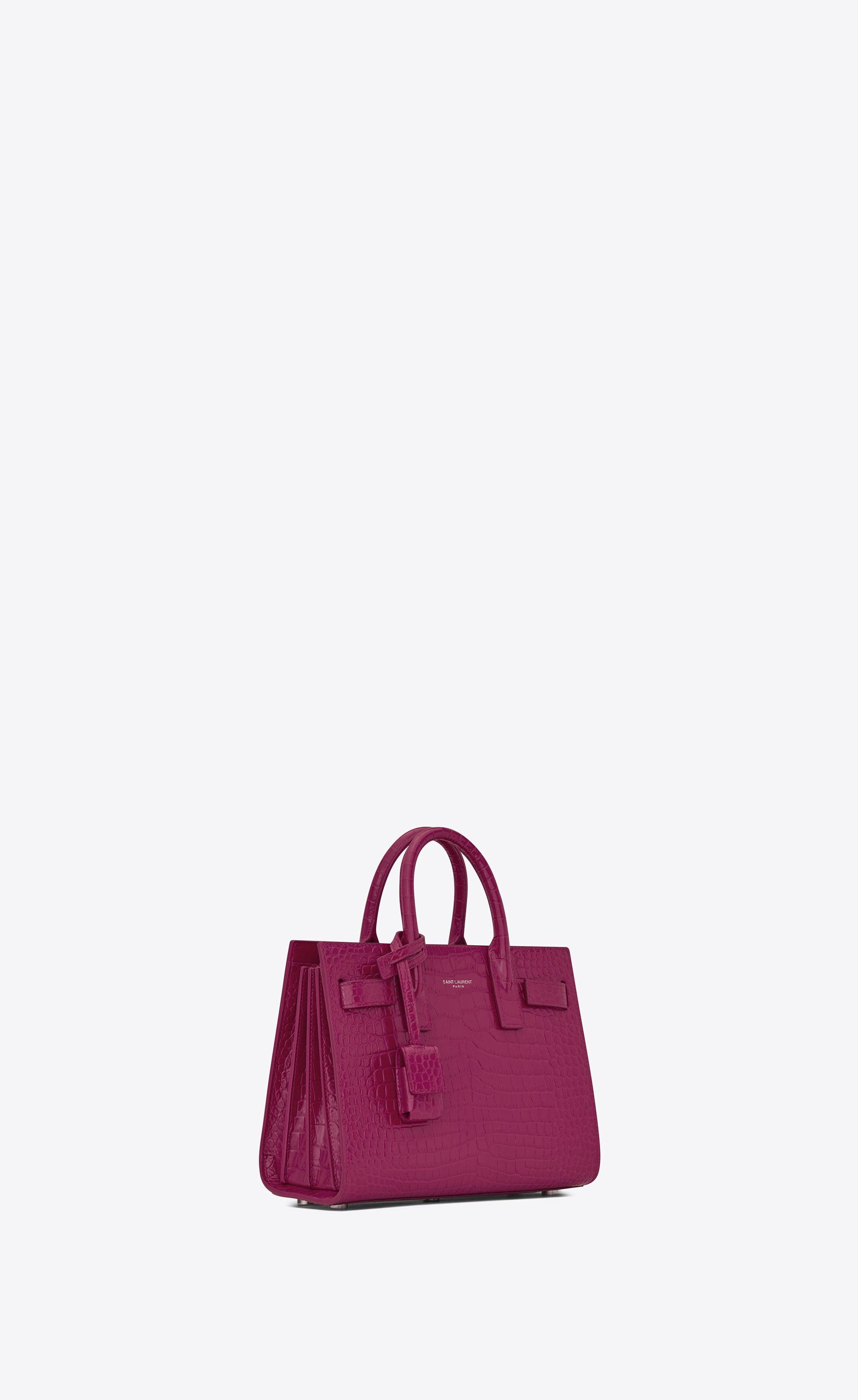 9d49d65ccef Saint Laurent - Classic Nano Sac de Jour bag in pink peony crocodile  embossed shiny leather ($1,690)