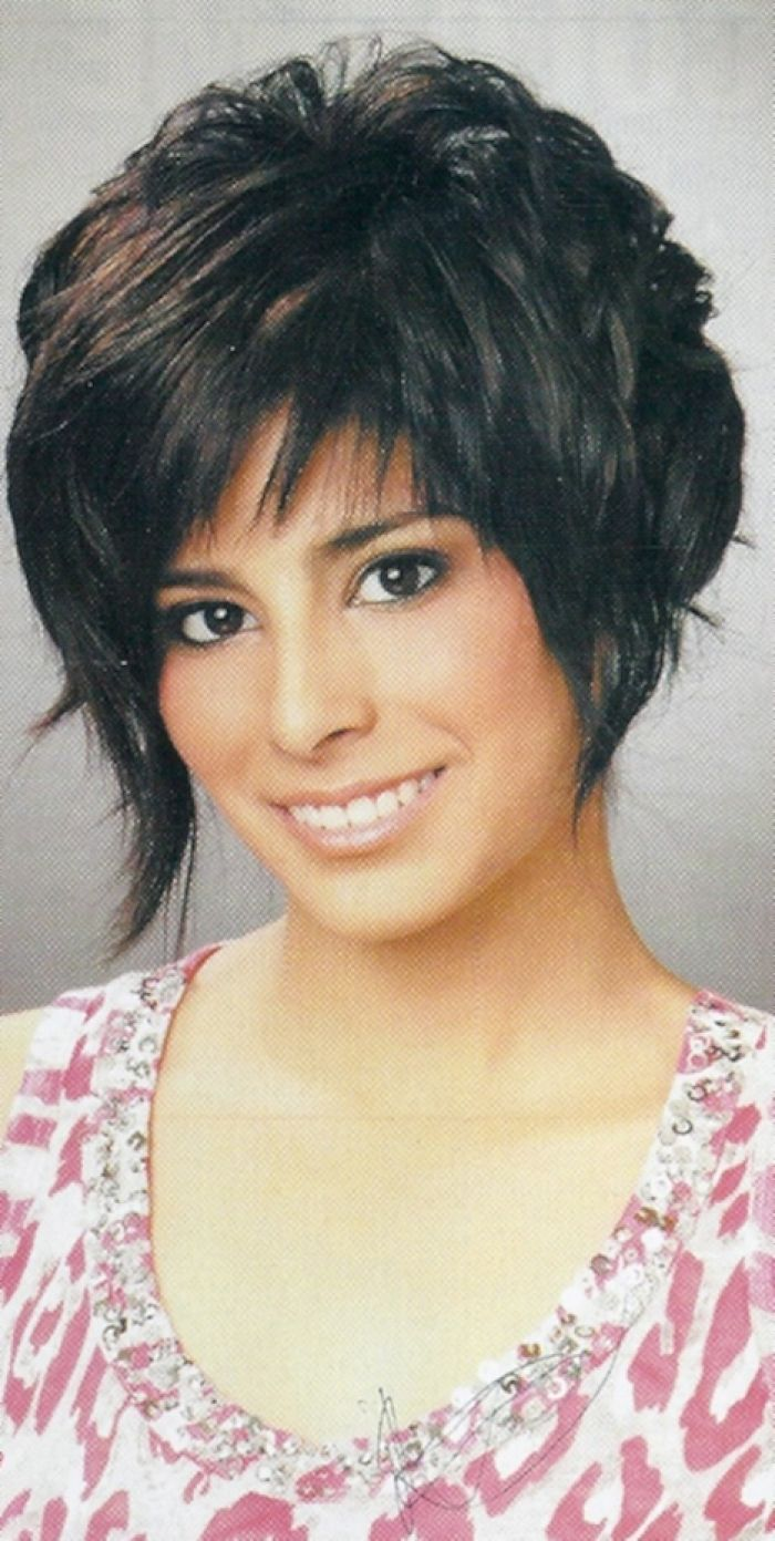 Cute short cropped layered asymmetrical haircut picture design