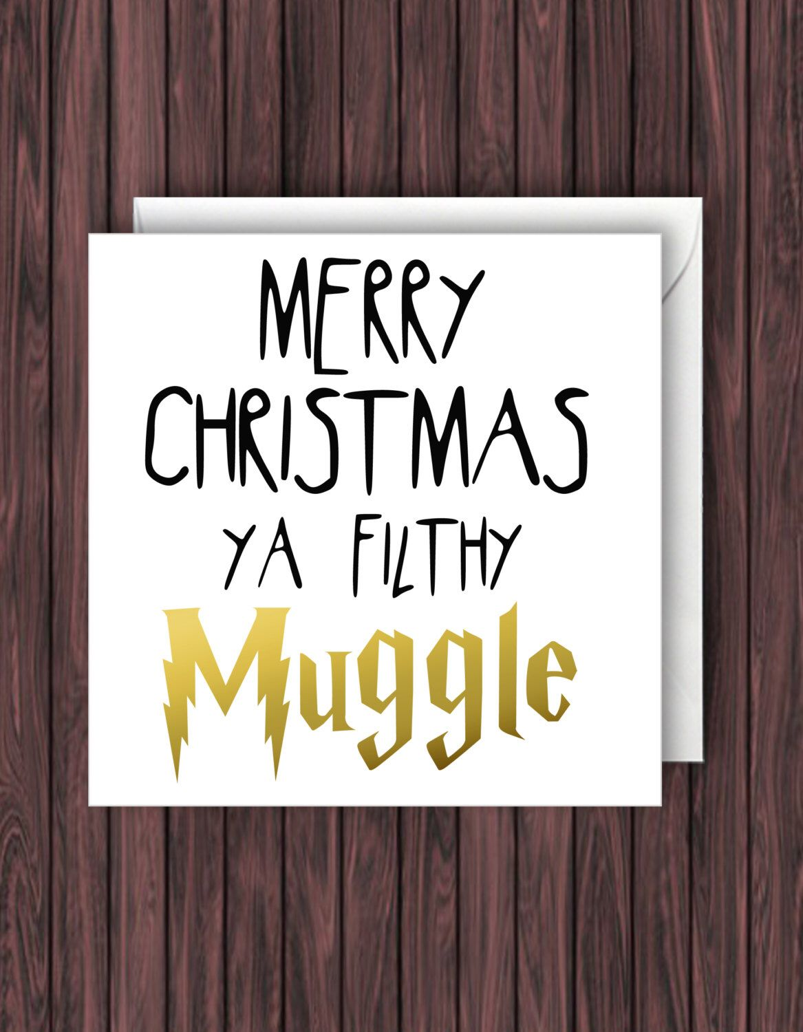 Filthy muggle harry potter christmas card geek blank card funny funny harry potter christmas card funny card greeting card by kristyandbryce Image collections