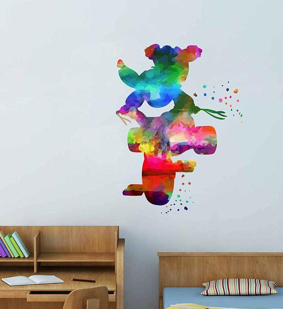 kcik2095 Full Color Wall decal Watercolor Lilo u0026 Stitch & kcik2095 Full Color Wall decal Watercolor Lilo u0026 Stitch | Wall ...