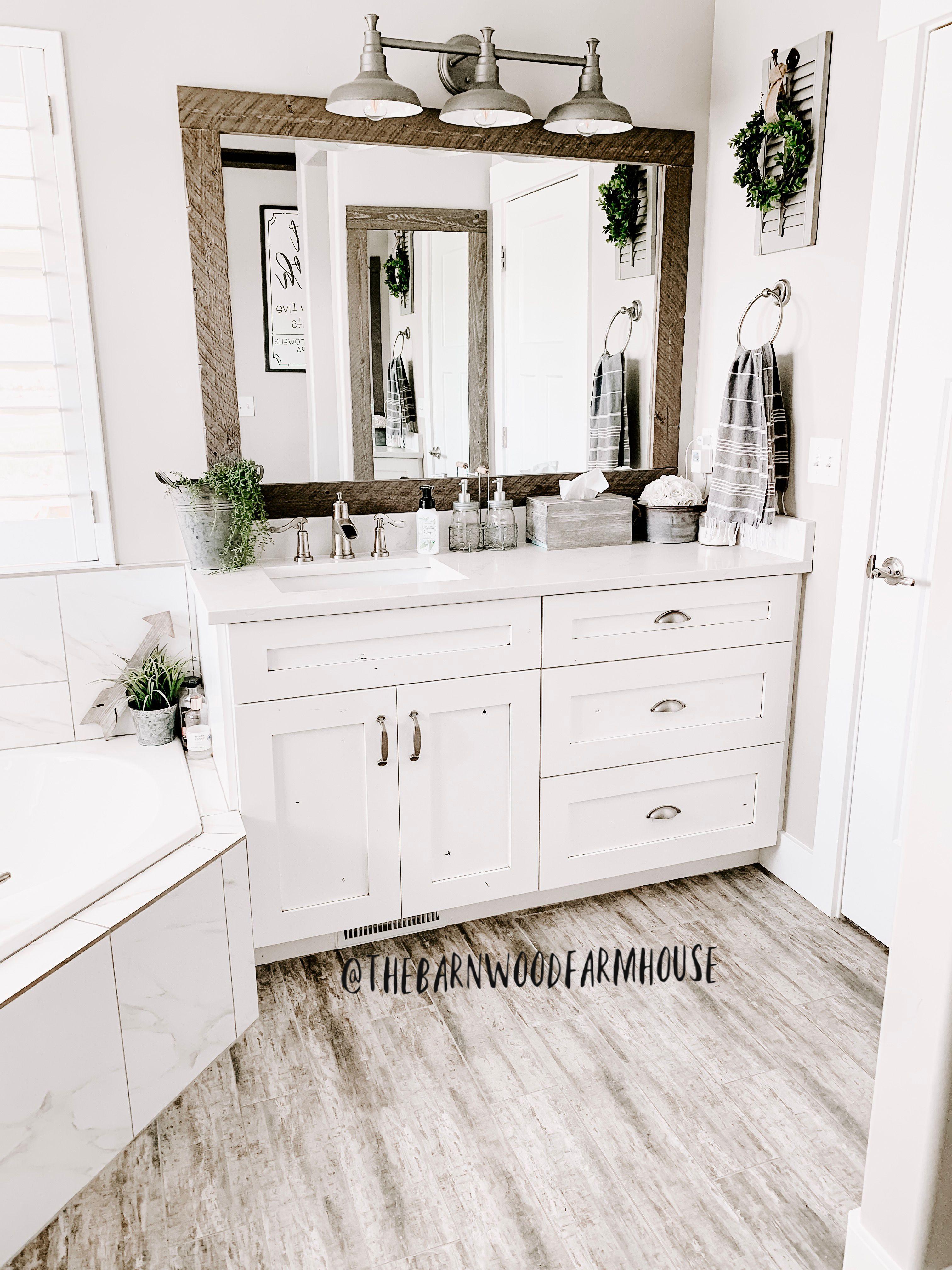 DIY farmhouse bathroom mirrors. White farmhouse bathroom