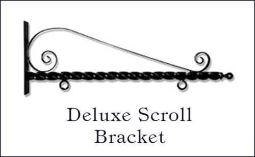 Stone-Mill-Deluxe-Scroll-Hanging-Bracket-for-2-Sided-Signs-Plaques-Black