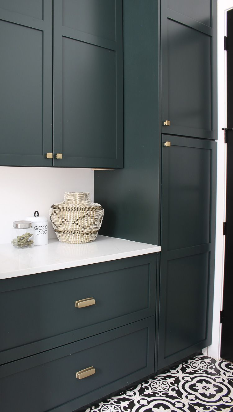 The Laundry/Dog Room: Dark Green Cabinets Layered On Classic Black + White Design - The House of Silver Lining