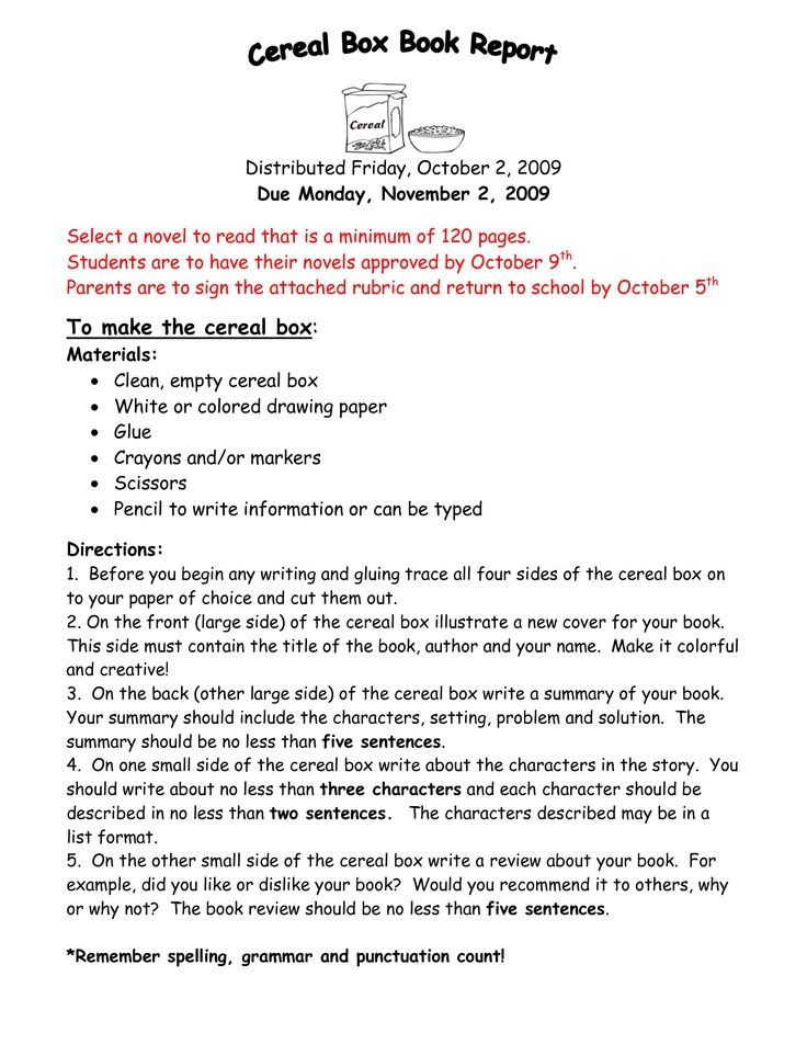 cereal boxes box book report ela reading ideas reports - sample cereal box book report template
