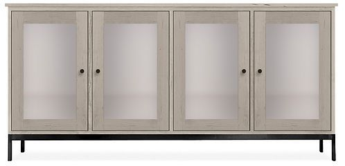 Linear 67w 16d 32h Cabinet in Shell with Natural Steel Steel - Cabinets & Armoires - Living: Accent Tables & Storage - Room & Board