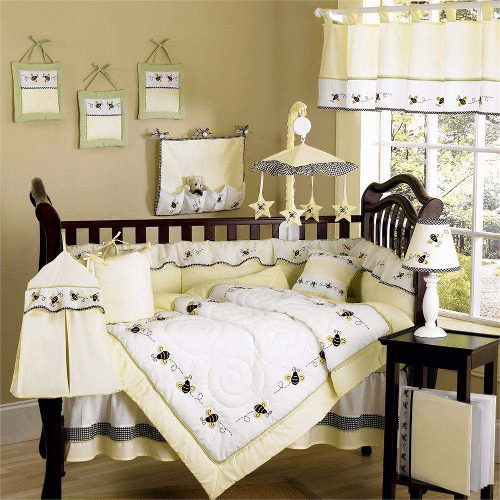 6 piece bumble bee baby crib bedding cot set