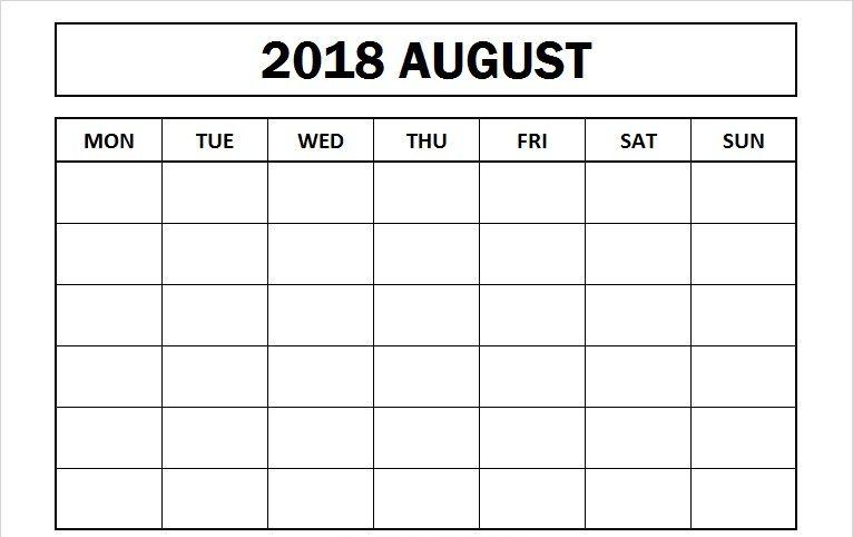Blank August 2018 Calendar Template Planner August 2018 Calendar