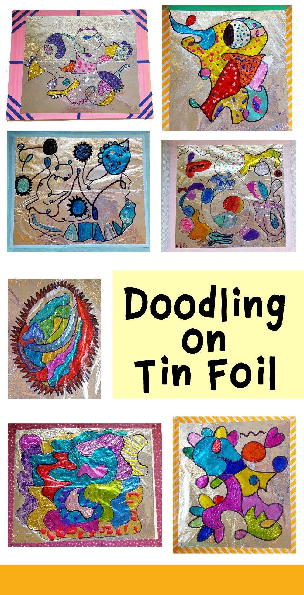 Sharpie Drawings On Tin Foil Elementary Art Projects Art Lessons Elementary Sharpie Drawings