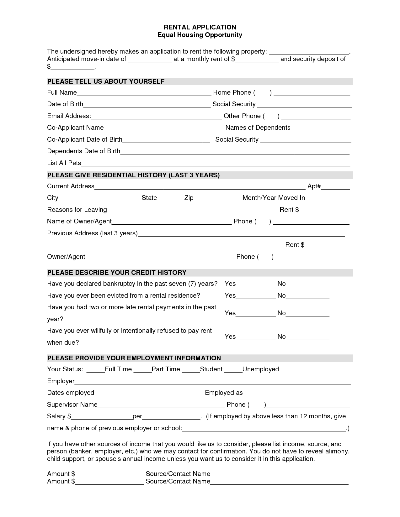 Tenant Application Form Template Get Instant Risk Free Access