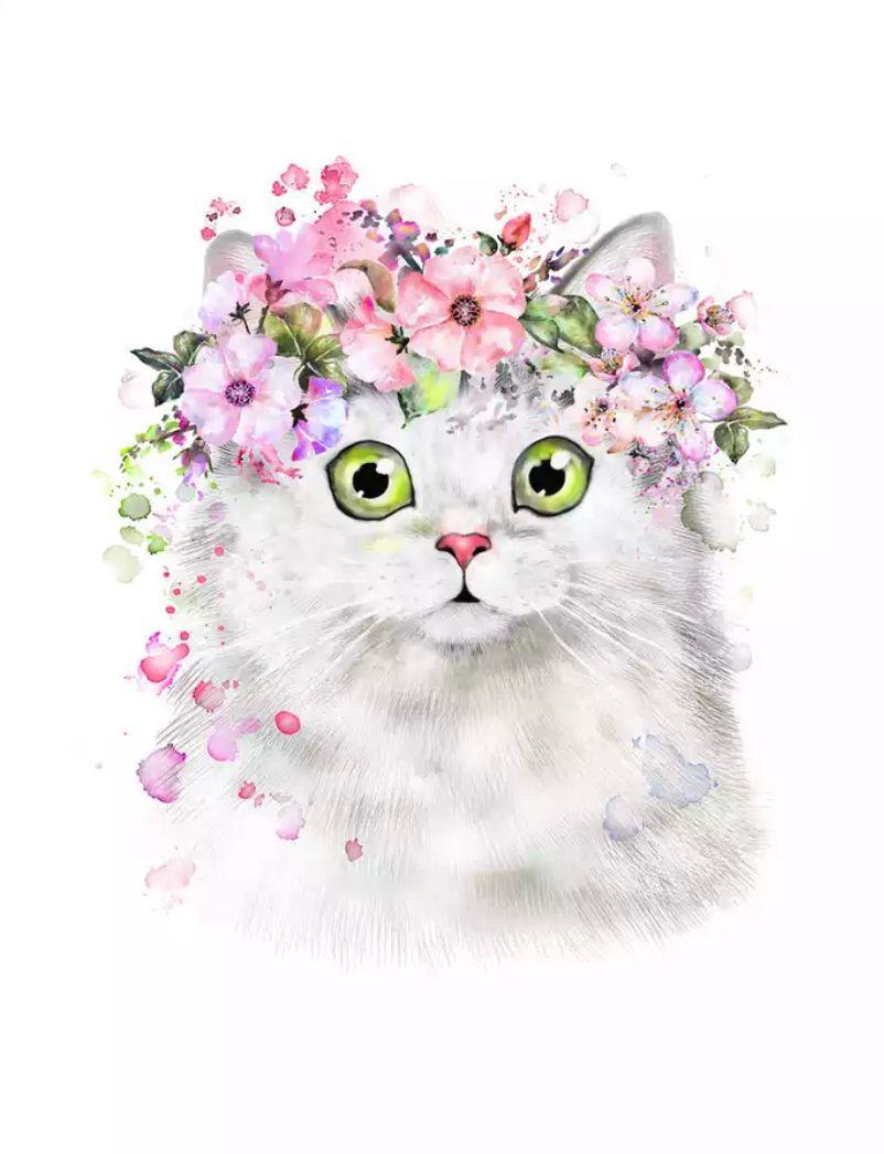 Cat Wearing Flower Crown Katzenzeichnung Katzen Zeichnungen