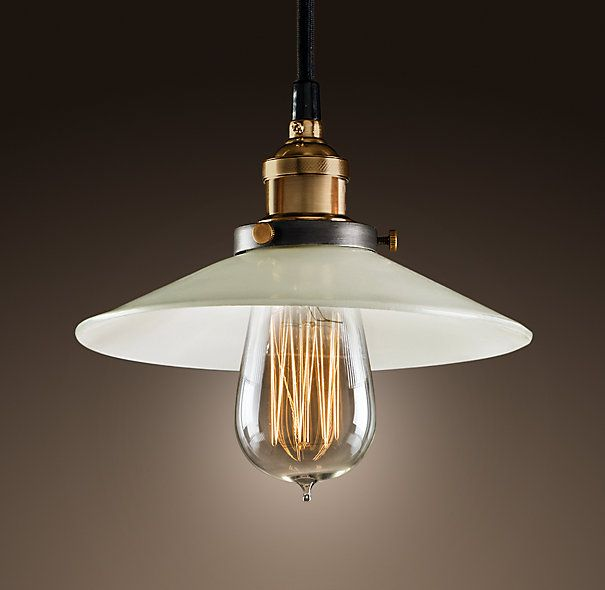 Pendant Lights For Kitchen Sink: 1910 Squirrel-Cage Filament Bulb In Milk Glass Pendant