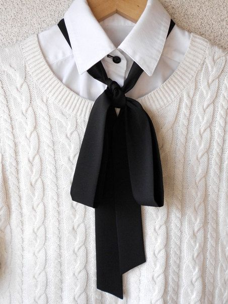 c56210be3a89 Black Bow Tie Scarf / Classic Styling Women Neck by BlumArt ...