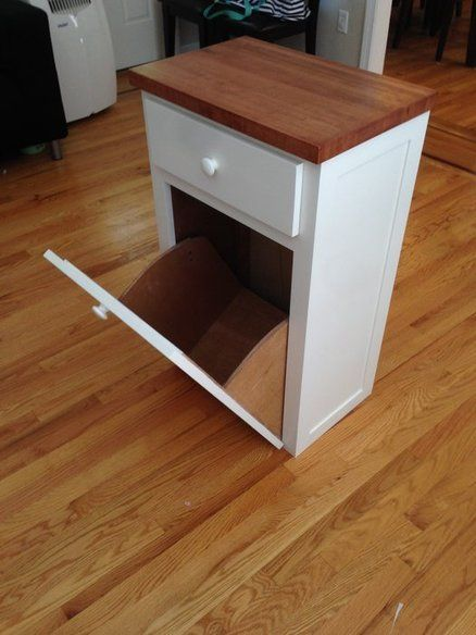 Love this idea for trash can with a drawer! Would like it to be a bit taller of a cabinet