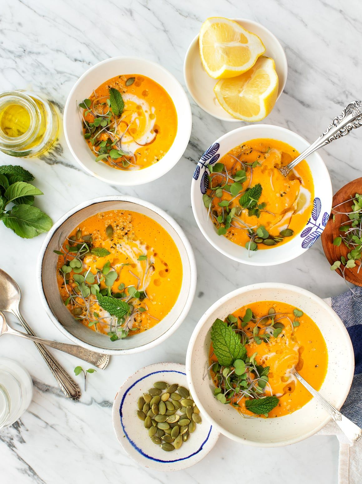 Carrot Coconut Gazpacho with Lemongrass Carrot Coconut Gazpacho with Lemongrass is DELICIOUS warm or cold and perfectly creamy without dairy! This healthy vegan soup takes under 15 minutes to make and keeps well! An all-time weeknight favorite! | Love and Lemons