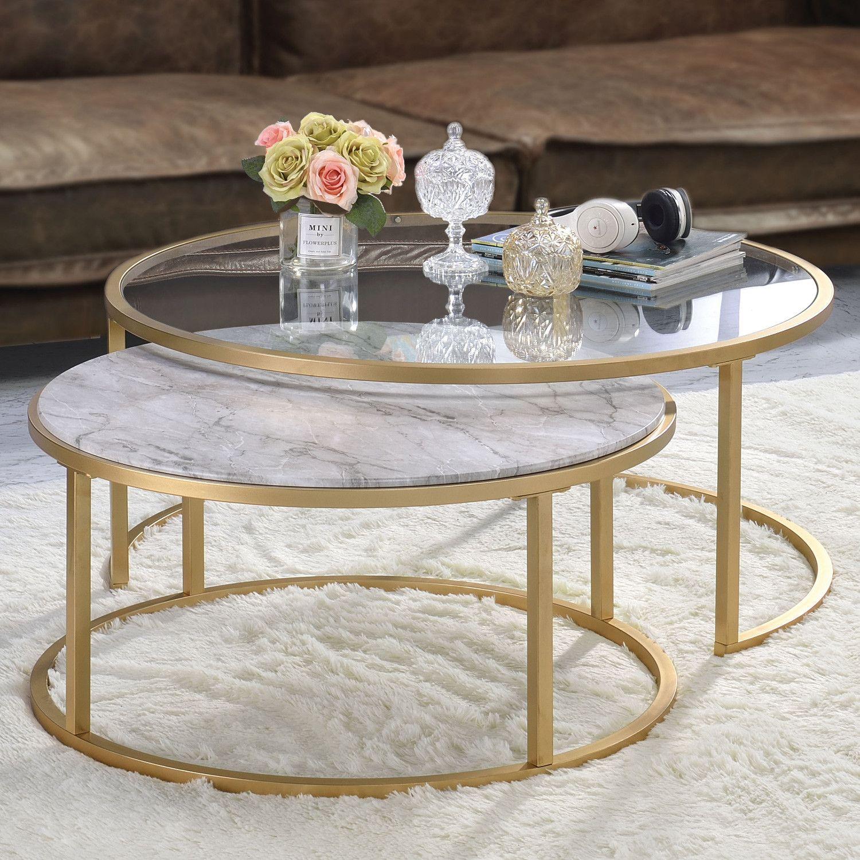 Acme furniture 81110 shanish 2 piece nesting table set