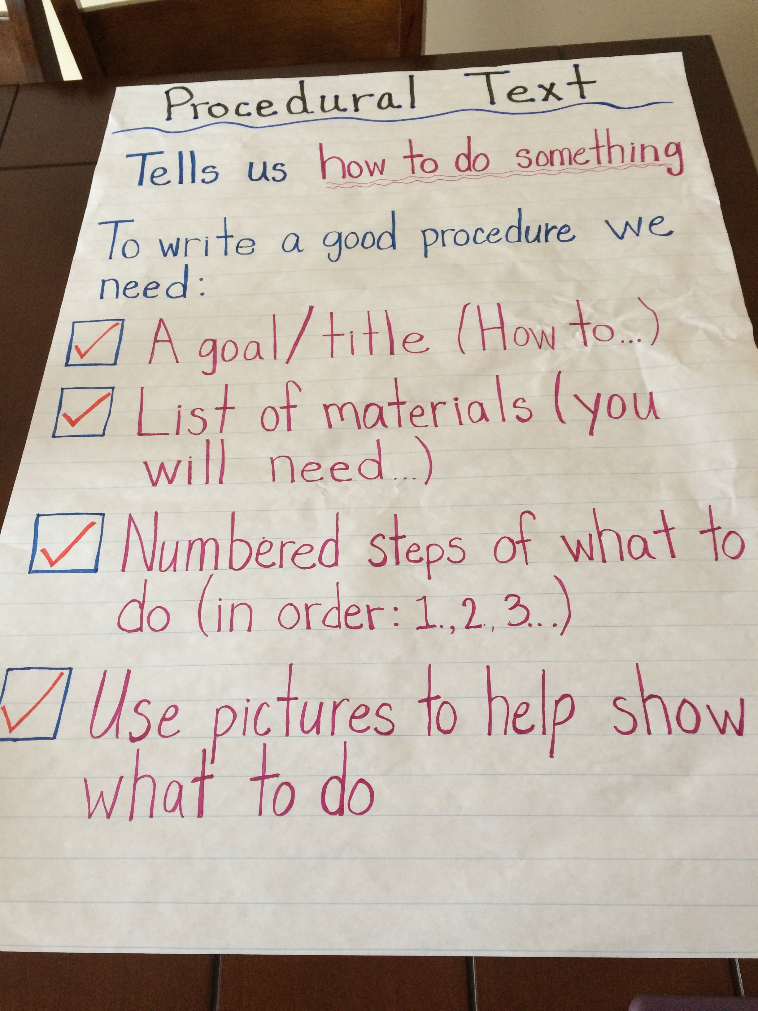 Procedural Text Anchor Chart For My Grade Ones