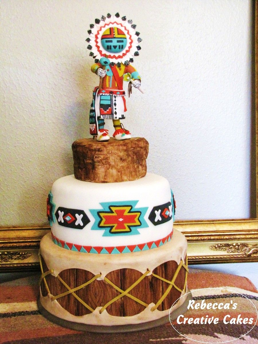 Native american kachina doll cake for my cherokee birthday boy