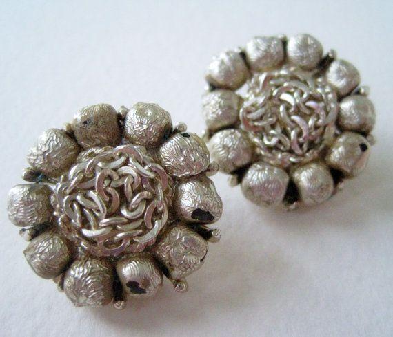 Vintage 50s Mid Century Hollywood Regency Goldtone Bead Chain Cluster Earrings by ThePaisleyUnicorn, $2.00