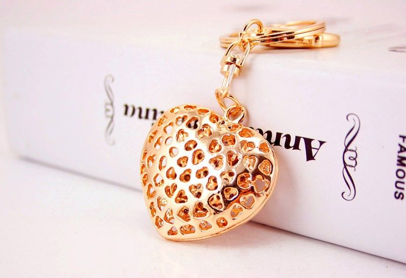 Hollow Out Love Heart Key Chains Rings Holder For Lovers Sweetheart Bag Pendant For Car Rhinestone Keyrings Keychains K Heart Keychain Keychain Key Chain Rings