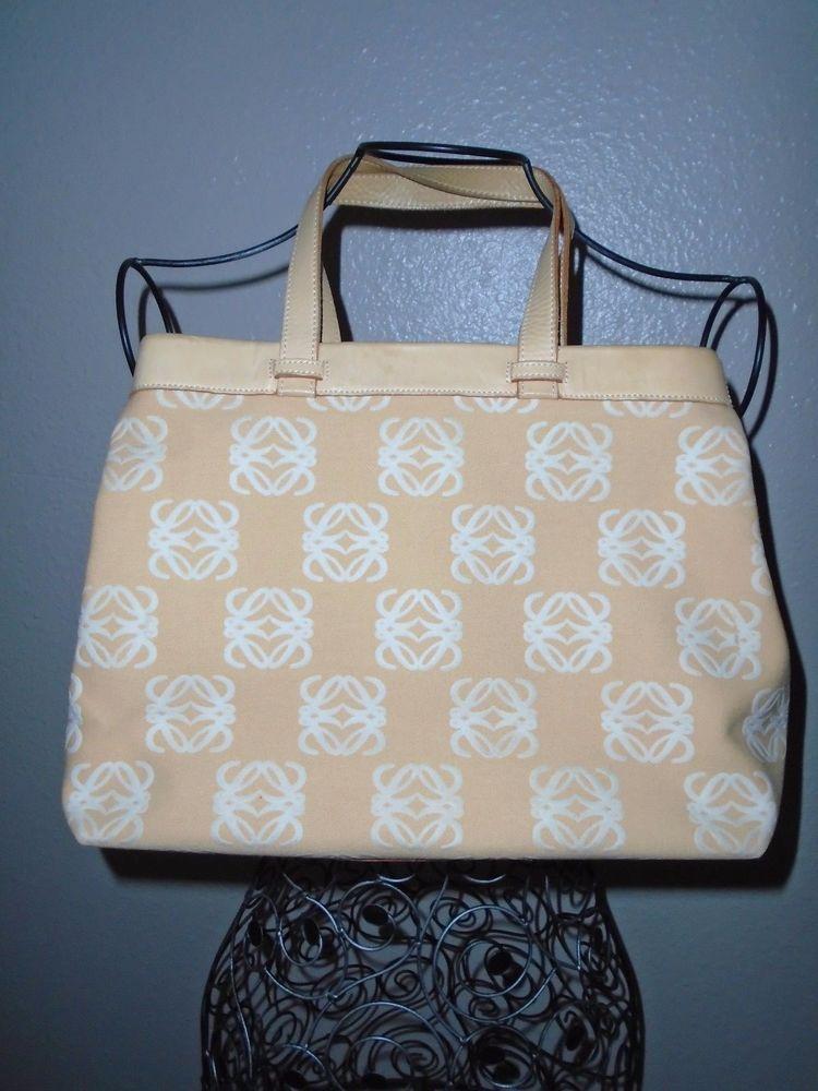 LOEWE Madrid White & Tan Canvas & Leather Shoulder Purse Bag  #Loewe #ShoulderBag