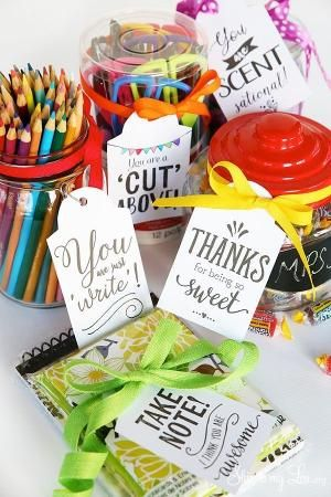 Printable Teacher Appreciation Gift Tags. Simply print and attach to your gift. Great ideas- pencils, scissors, note pad, sweets, etc. #print #teacher #gift skiptomylou.org by anita