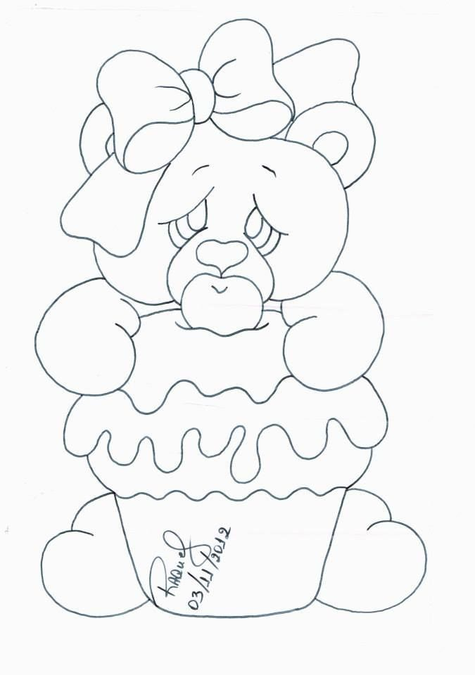 Risco Ursinha Cupcake Padroes Para Pintura Pinturas De Ursos