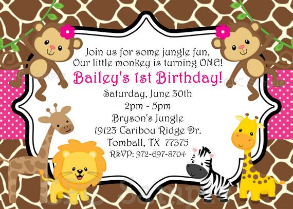1st Birthday Girl Invitation Monkey Jungle Birthday Invitation