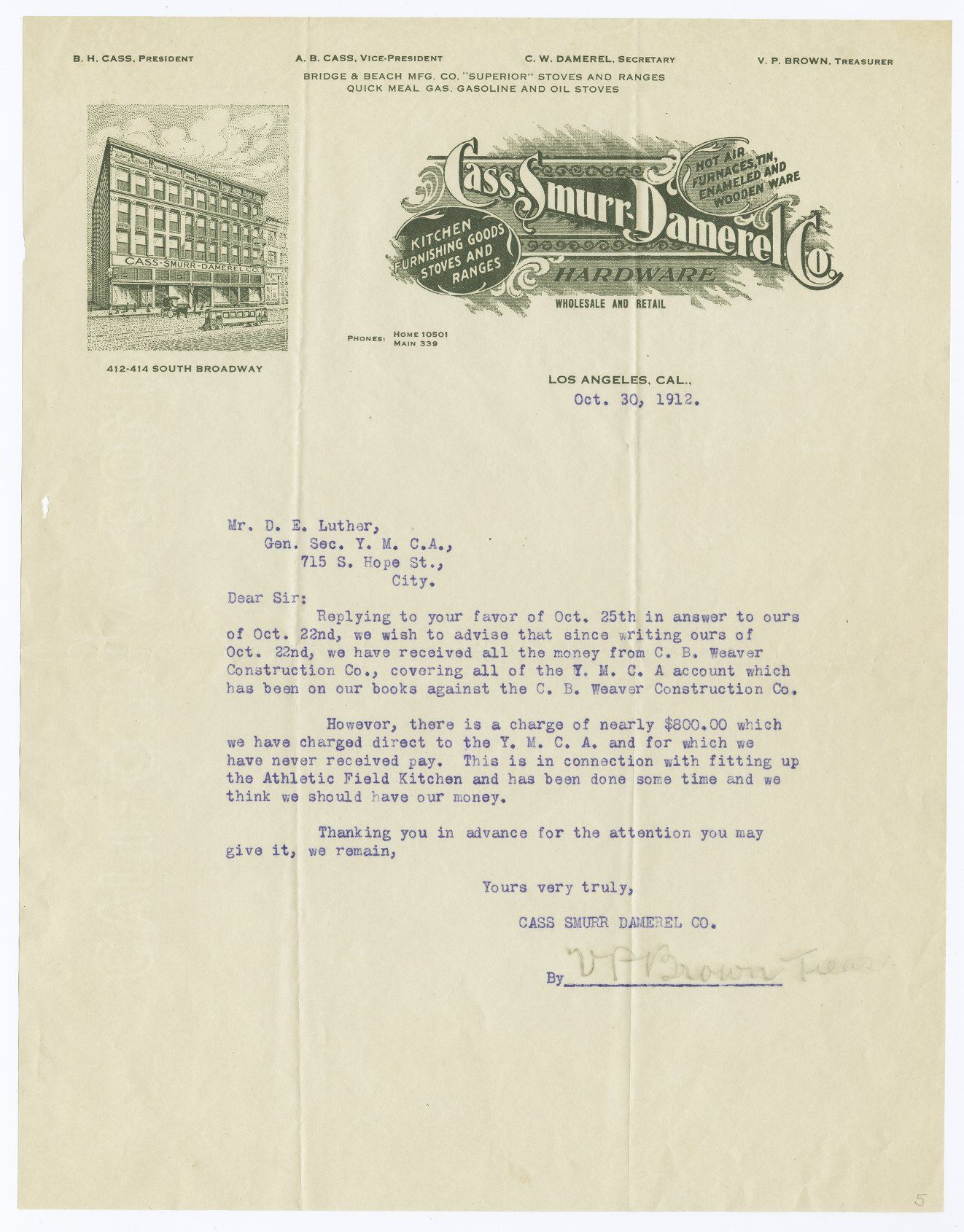 Cass-Smurr-Damerel Co. letterhead