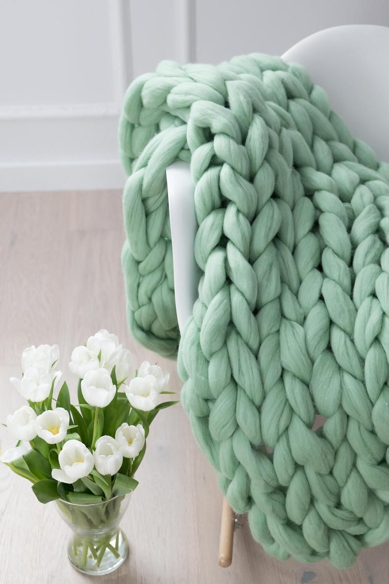 Photo of Chunky Knit Blanket, Blanket, Super Chunky Blanket, Giant knit blanket, Thick yarn blanket, Bulky
