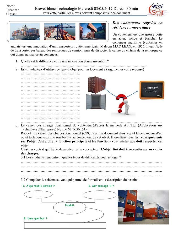 Sujet 56 Brevet De Technologie College Rabelais Niort Technologie College Brevet Blanc Technologie