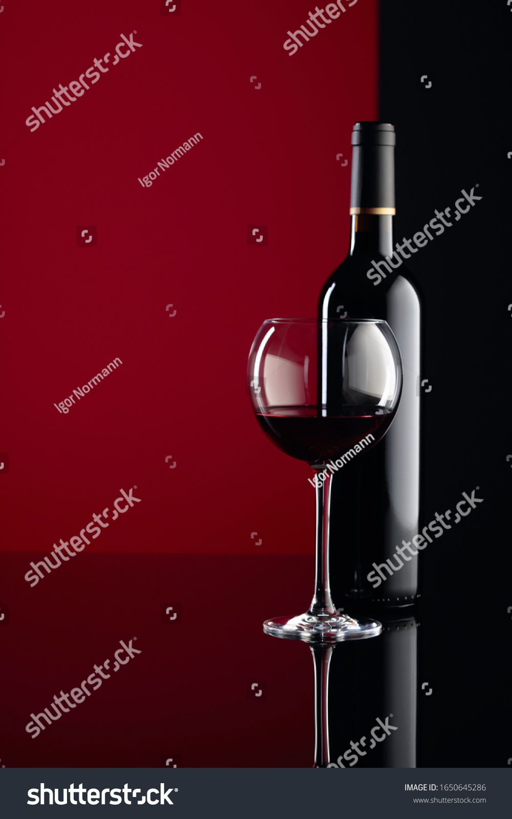 Glass And Bottle Of Red Wine On A Black Reflective Background Free Space For Your Content Ad Paid Wine Black Red Glass In 2020 Red Wine Glass Glass Bottles