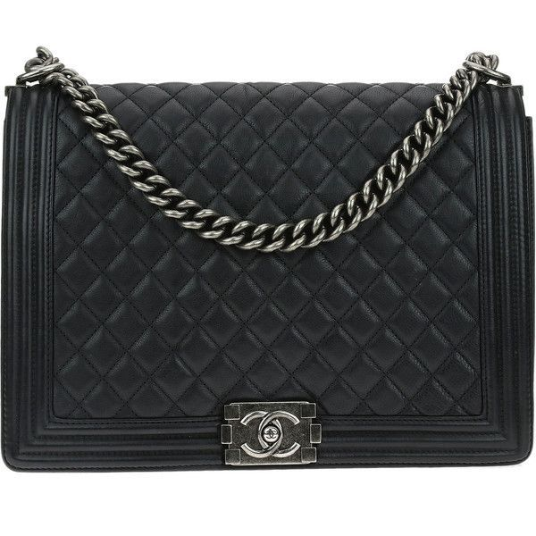 8e40636c3244 Pre-owned Chanel Black Calfskin Quilted Large Boy Flap Bag ($4,950) ❤ liked  on Polyvore featuring bags, handbags, calfskin purse, chanel purse, strap  bag, ...