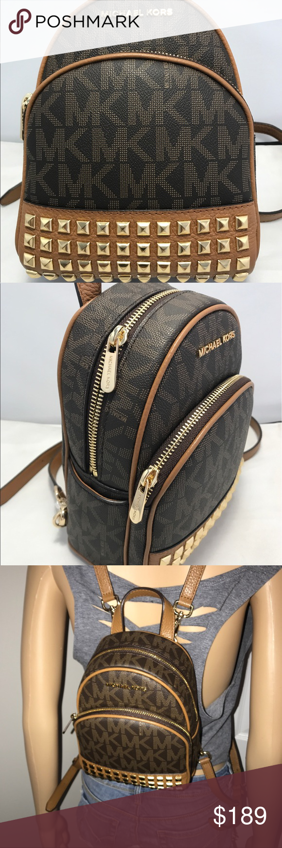 90c4112a15 Michael Kors Abbey Xs Backpack to Crossbody Bag Michael Kors Signature  Abbey Extra Small Backpack Cross body Msrp 348.00 New with Tags - Brown    Acorn Chic ...