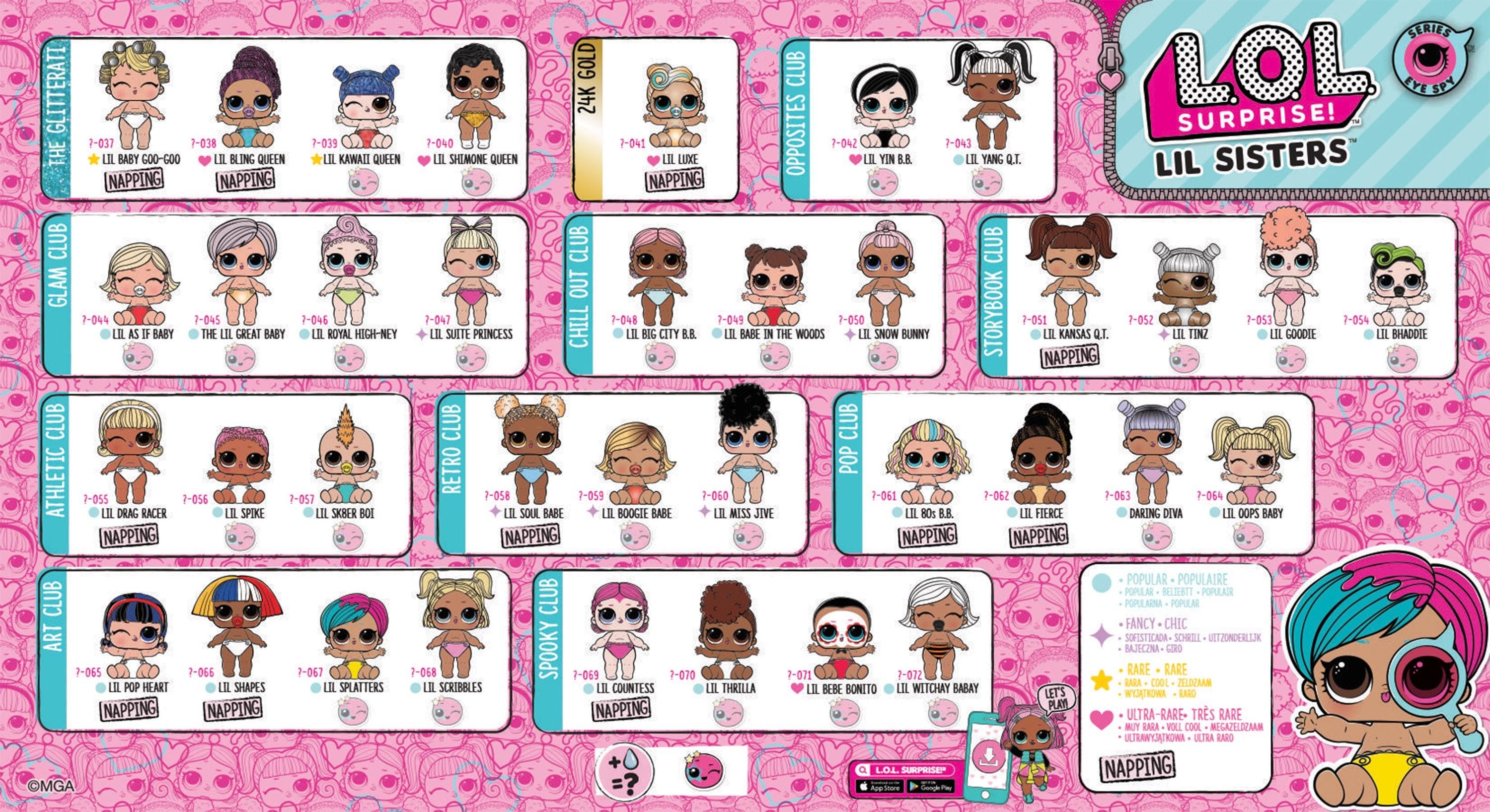 Lol Surprise Doll Series 4 Eye Spy Glam Lil Sisters Wave 2 Collector Guide List Checklist Jpg 3000 1636 Lil Sister Lol Dolls Kids Printable Coloring Pages