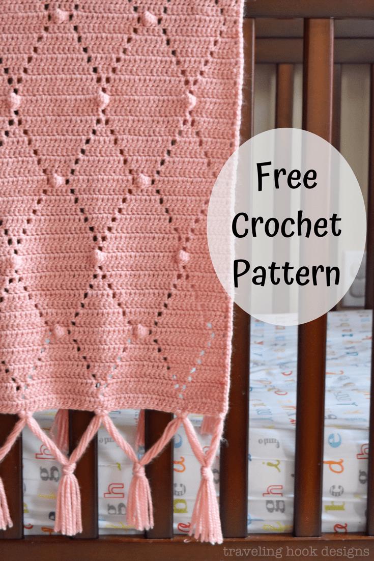 Photo of Diamonds and Dots Hierloom Baby Girl Blanket Free Crochet Pattern using eyelets,…