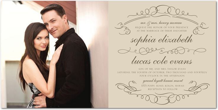Fairytale Seal - Signature White Wedding Invitations in Dark Gray   Baumbirdy $328 for 150