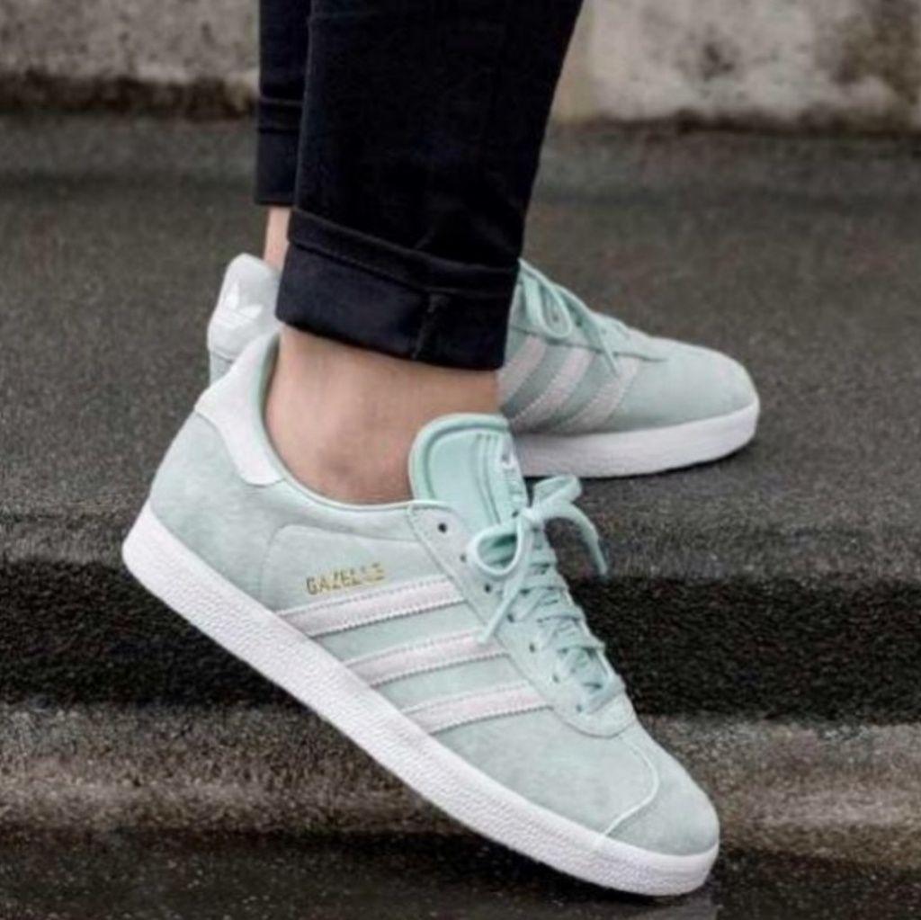 adidas • Gazelle Mint Green Suede Sneakers   Adidas gazelle, Green ...