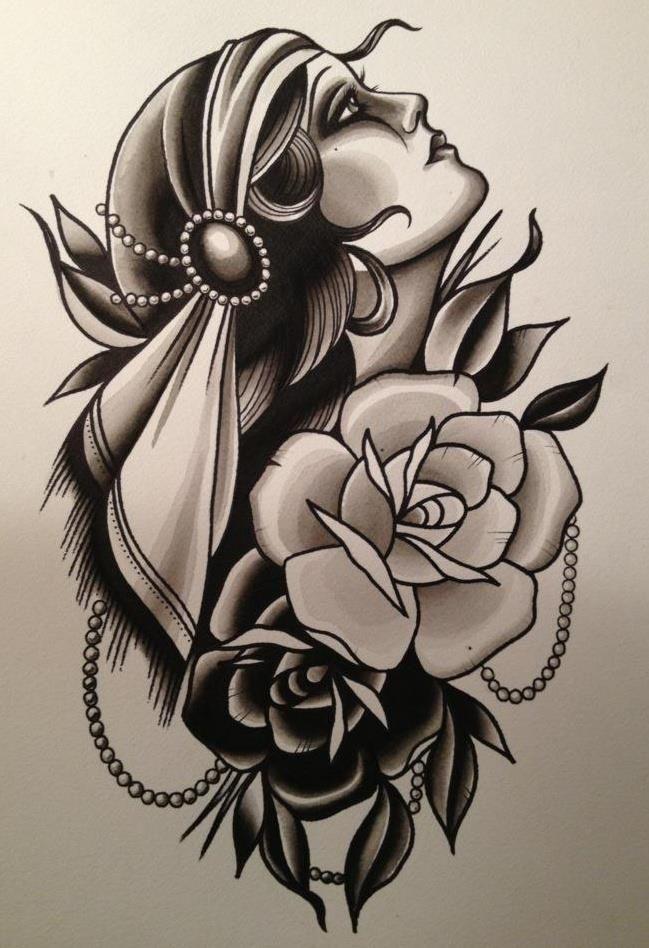 216d133ce gypsy rose tat | tat ideas | Gypsy girl tattoos, Traditional gypsy ...