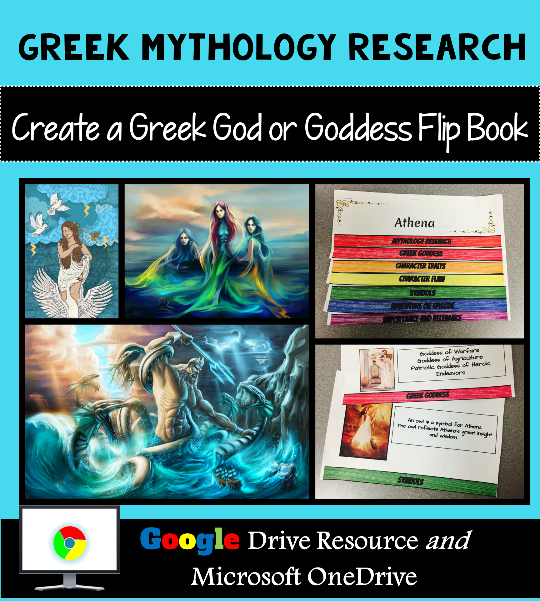 Greek Mythology Research Interactive Layered Flip Book
