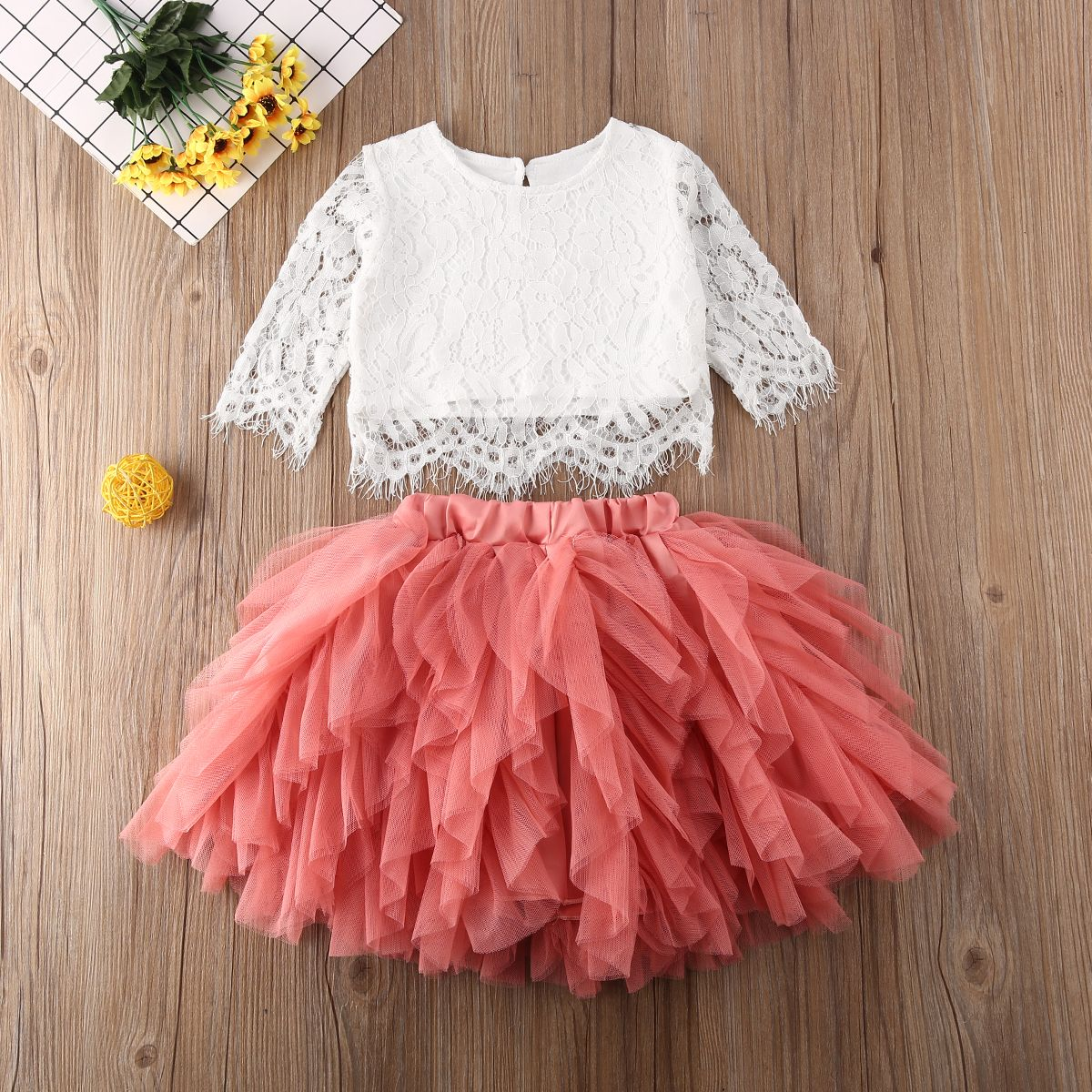 Kids Baby Girl T-shirt Tops+Tutu Skirt Party Clothes Toddler Casual Floral Dress
