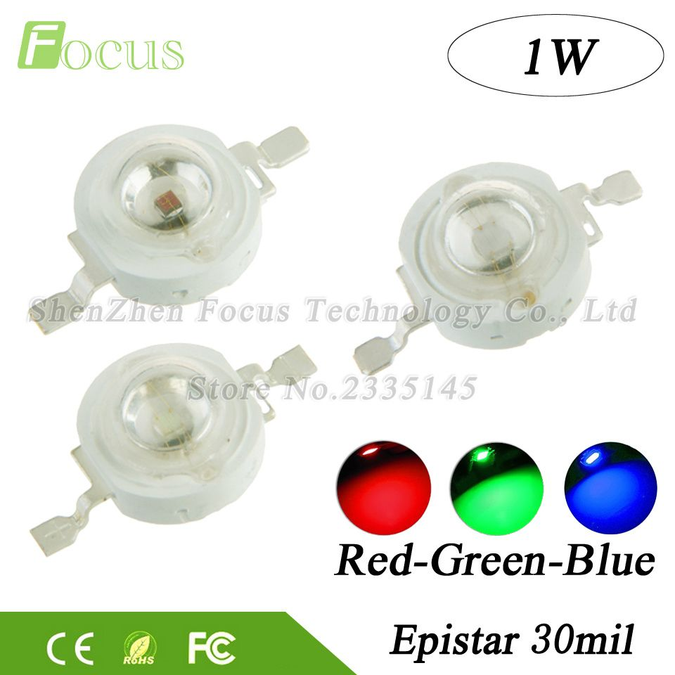 High Power Super Bright 1w Red Green Blue Led Chip 1 Watt Cob Smd Diode Bulb Lamp Beads Diy Spotlight Floodlight Stage Ligh Lights Light Accessories Watt Light