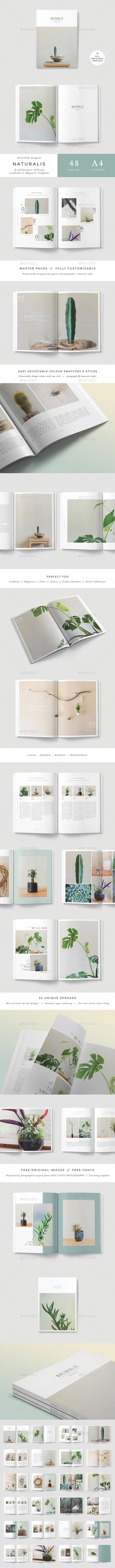 Naturalis Lookbook / Magazine  — InDesign Template #minimalist #magazine design…