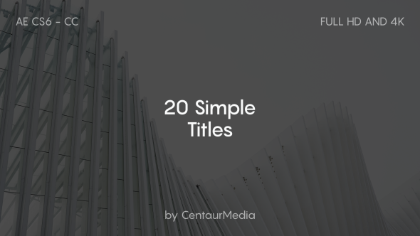 20 Simple Titles 20 Titles 1080p and 4K (3840×2160) resolutions