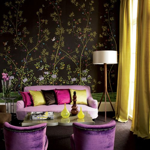 Exotic living room use a richly coloured patterned for Purple feature wallpaper living room