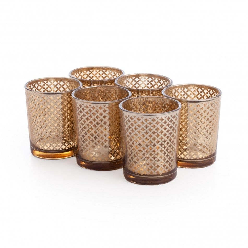 Glass votive candle holders lattice gold votive holders