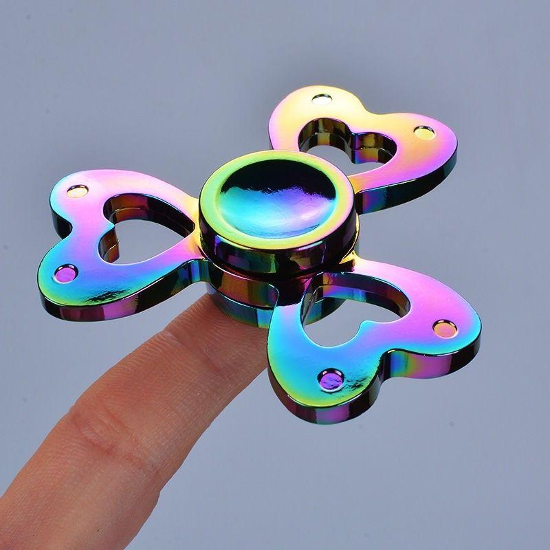 Fid Spinner Rainbow Heart Metal Tri Spinner Hand Spinner Toy EDC